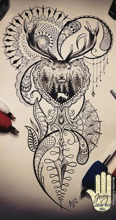 stag tattoo design i Trendy Tattoos, New Tattoos, Body Art Tattoos, Tattoos For Guys, Sleeve Tattoos, Tattoos For Women, Stag Tattoo Design, Tattoo Designs, Tattoo Sketches