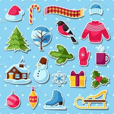 Set of winter stickers. . Objects. $4.00
