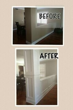 DIY Home Improvement Projects kitchendecornews. DIY Home Improvement Projects kitchendecornews…. DIY Home Improvement Projects kitchendecornews…. Home Improvement Projects, Home Projects, Kitchen Remodel Before And After, Half Walls, Diy Kitchen Remodel, Remodel Bathroom, Moldings And Trim, Moulding, Molding Ideas
