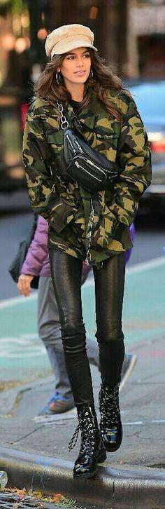 Military style . Kaia Gerber