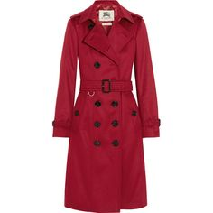 Burberry London Brushed-cashmere trench coat (4,530 BAM) ❤ liked on Polyvore featuring outerwear, coats, red, red trenchcoat, cashmere trench coat, burberry trenchcoat, cashmere coat and double breasted trench coat