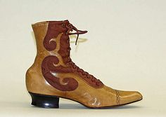 Shoes Date: 1899 Culture: American Medium: leather Metropolitan Museum of Art Accession Number: Vintage Shoes, Vintage Outfits, Vintage Fashion, 1890s Fashion, Antique Clothing, Historical Clothing, Victorian Shoes, Victorian Steampunk, Art Nouveau