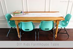 DIY kids farmhouse table by Dream Book Design #DIY #farmhouse #table #kidstable