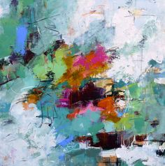 """Daily Painters Abstract Gallery: Modern Expressionistic Abstract Painting """"Rainbow Water"""" by Elizabeth Chapman"""
