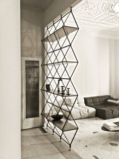 Pietro Russo shelves. Black iron geometric shelving. Room divider. Welded.