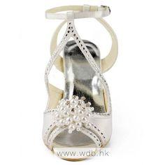 """Charming 3.5\"" Pearl Brooch Floral Rhinestones Peep-toe Sandals - Ivory Satin Wedding Shoes $76.98"""