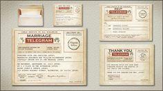 VINTAGE TELEGRAM WEDDING INVITATION together with RSVP cards, SAVE THE DATE TELEGRAM, telegram wedding thank you cards and old paper envelopes