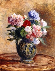 Hydrangeas and Roses in a Vase (Maximilien Luce)