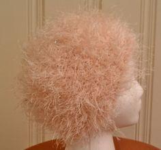 Pretty Pink Pouf  Fun fur pink pouf hat with by knuttyknits