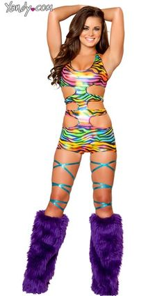 Strapped Rainbow Zebra Romper, Sexy Romper, Rave Romper, Sexy Rave Outfit, Rainbow Romper