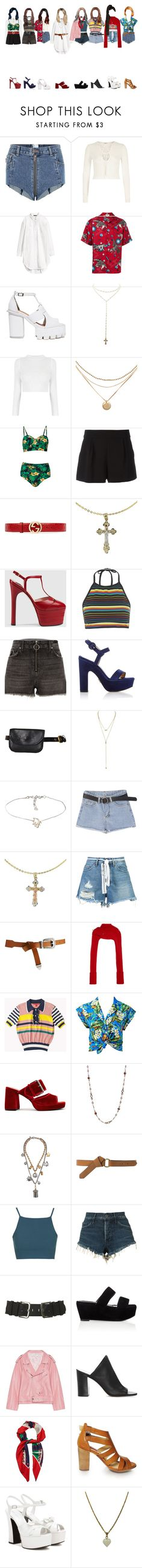 """E X O _ Ko Ko Bop ( female vers. )"" by xxzodiacentertainmentxx ❤ liked on Polyvore featuring Vetements, River Island, H&M, Gucci, Charlotte Russe, Boutique Moschino, Motel, Paul Andrew, Topshop and Cross"