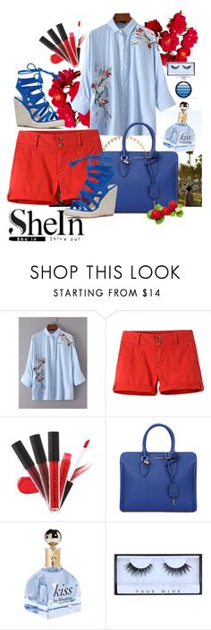 """Blue day red"" by peoniesrmyfave ❤ liked on Polyvore featuring Mountain Khakis, Alexander McQueen and Huda Beauty"