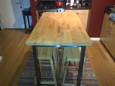 IKEA Bar/Counter Table with Pine Top and Stool Chairs