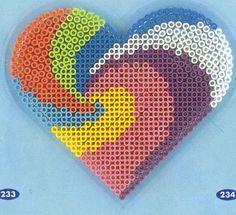 Heart design hama perler pattern