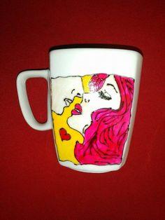 Handpainted mug. Lovely pop art couple. Love mug.