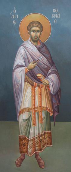 Άγιος Κοσμάς ο Ανάργυρος / Saint Cosmas Orthodox Icons, Fresco, Saints, Princess Zelda, Motivational, Fictional Characters, Projects, Byzantine Icons, Persona