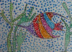 Au fil des jours: Le pointillisme Ocean Projects, Art Projects, Under The Sea Crafts, Classe D'art, Modern Art Styles, Madhubani Art, Mandala Rocks, Sea Theme, Fish Art