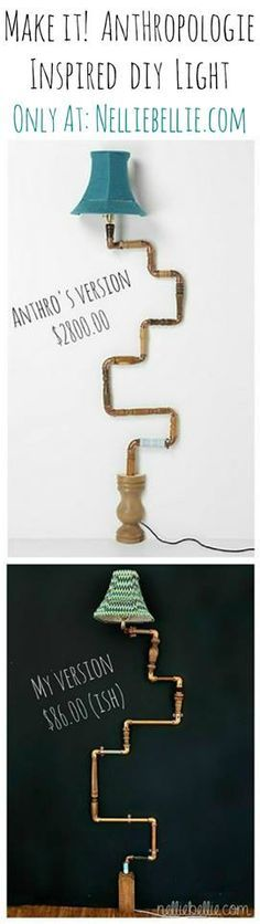 Anthropologie-inspired industrial DIY pipe lamp. If you like the look of this lamp, but don't want the various textures and such, this could also be AMAZING looking using all copper tubing (might be pricier though).