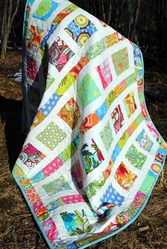 "QUILT KIT:  Flowers in the Sunshine Pattern, 2 Charm Packs - 41"" x 49"" - Neutral Fabric on Etsy, $32.90"