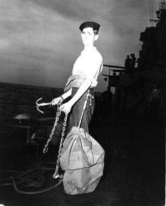 Recruit of cruiser USS Indianapolis on 'mail buoy watch', 10 Mar 1943. (US Naval History and Heritage Command)