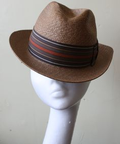 d2f7dc9348d Vintage 50s 60s Golden Tan Woven Straw Fedora Hat 6 3 4 This great vintage  fedora is a great addition to your vintage wardrobe.
