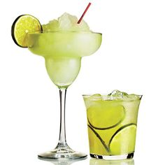 Skinny margaritas- 1 ounce premium or silver tequila, 1/2 ounce Cointreau or other orange-flavored liqueur, 1.5 ounces fresh-squeezed lime juice. Shake with 3/4 cup ice; garnish with lime. Change cups to parts and it works the same for larger quantities.