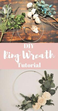 [orginial_title] – The Repurposed Nanny DIY Ring Wreath Tutorial Super easy ring wreath tutorial that you cannot get wrong Wreath Diy Wand, Pot Mason Diy, Mason Jar Crafts, Tutorial Diy, Wreath Tutorial, Ring Tutorial, Mur Diy, Diy Simple, Diy Hanging Shelves
