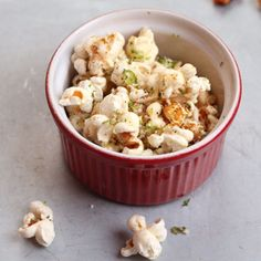Mexican Corn-on-the-Cob Popcorn  ~  this popcorn topping mixes bright lime zest with spicy chile and salty cheese.