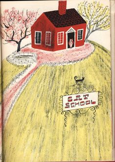 Roger Duvoisin (1900 – 1980) - Swiss-born American writer and illustrator. illustration, drawing, art, design, modern, mid-century, retro, vintage, children, picture, book, house, tree