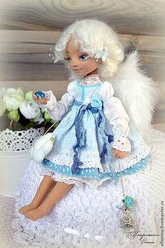 Купить Лея - ангел, собирающий дождики. Текстильная кукла - ангел, голубой, белый, светлый