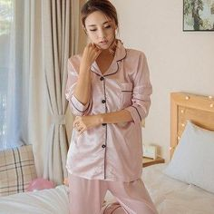 d63a44b4d2 2017 Autumn spring Women Silk Satin Pajama Sets Long Sleeve Sleepwear Set  Two-pieces Big Size V-neck Breathable Pyjamas