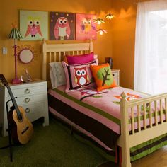 Girl's Mod Owl Themed Bedroom - featuring Mod Owl artwork by Rachel Taylor for Oopsy daisy, Fine Art for Kids