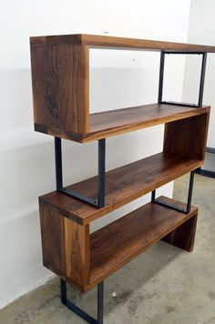 Wood Shelves Modern Walnut wood and steel ribbon bookshelf - i bet i could make something lik. Furniture Projects, Diy Furniture, Modern Furniture, Furniture Design, Rustic Furniture, Antique Furniture, Furniture Stores, Inexpensive Furniture, Furniture Websites