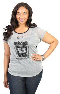 plus size metallic tee with perfume print and black lace back
