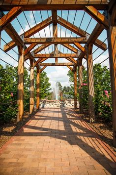 Brick Walkway Through Rose Arbor Toward Fountain Stock Photo ...