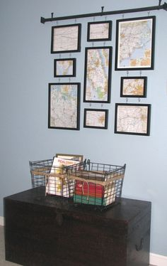 nice display of maps by Christan at Repurposed Heart