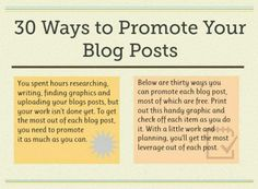 30 ways to promote your blog posts #blogging #tips