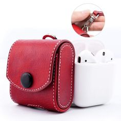 27b2b949e9 AirPods Carrying Pouch Protective Red PU Leather Case Snap Closure Holding  Strap  MoKo Leather Case
