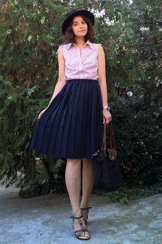 black hat - black longchamp purse - navy pleated thrifted skirt