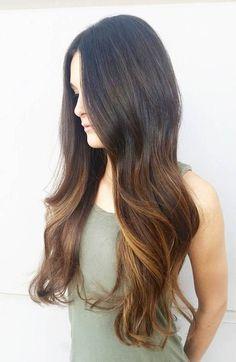 54 long dark brown hair with balayage highlights