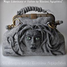 Bolso bolso del fieltro bolso de MEDUSA bolsa de por TianaCHE