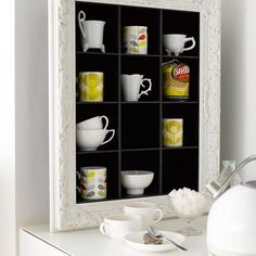 Small Kitchen Organizing Ideas - CD Storage Unit for Cups - Click Pic for 42 DIY Kitchen Organization Ideas & Tips Cd Storage Units, Mug Storage, Diy Kitchen Storage, Kitchen Shelves, Kitchen Organization, Storage Ideas, Shelving Ideas, Storage Solutions, Organization Ideas