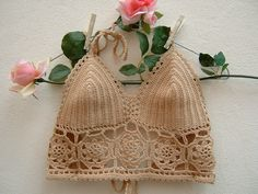 Crop top crochet hippie chic-Top di cotone ecru-Top spiaggia all'uncinetto-Festival Coachella-Top fashion boho
