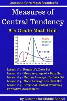 6th Grade Statistics - Central Tendency Unit *****************************************************************************This product covers the first 6th Grade Common Core Math Standard of:6.SPA.2Understand that a set of data collected to answer a statistical question has a distribution which can be described by its center, spread, and overall shape.This is a comprehensive lesson so the teacher will only have to download the product and then print out copies with their students…