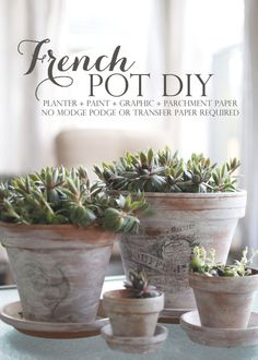 DIY: French Flower Pots - tutorial shows how to paint  apply graphics to clay pots.