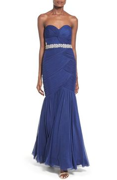 Way-In Strapless 'Amy' Ruched Mermaid Gown available at #Nordstrom