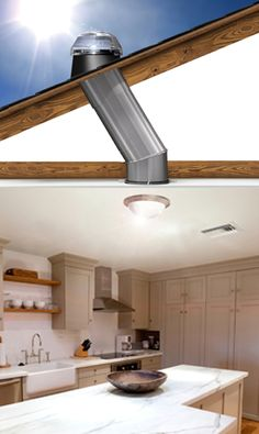 Consider for upstairs guest baths, master closet I need this for my kitchen on the mountain! Solar Tube Lighting, Lighting System, Modern Skylights, Interior Design Living Room, Interior Decorating, Roof Light, Tiny House Design, Clever Design, Home Remodeling