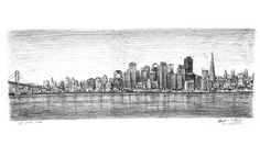 San Francisco Skyline tattoo idea- drawings and paintings by Stephen Wiltshire MBE