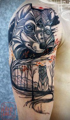 Idée de tatouage renard sur l'épaule