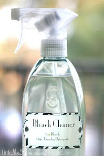 Bleach Cleaner  2 oz of Bleach  1 tsp. Laundry detergent  Fill the remaining space with Water